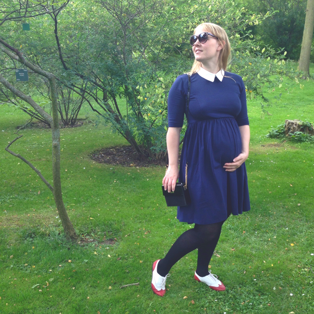 Asos Maternity Dress blue with white collar