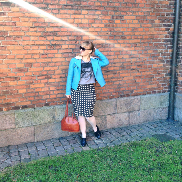 edith & ella jacket, bowie blouse, vintage joop bag and dune shoes