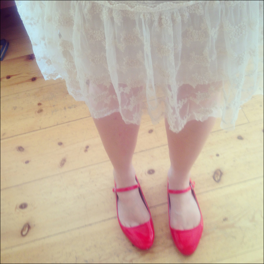 white lace, red shoes