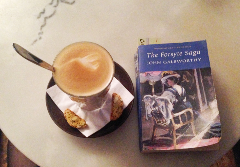 The Forsyte saga reading in a cafe